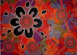 "Shelia Humphries, Australian aboriginal artist, ""Women Gathering Food"""