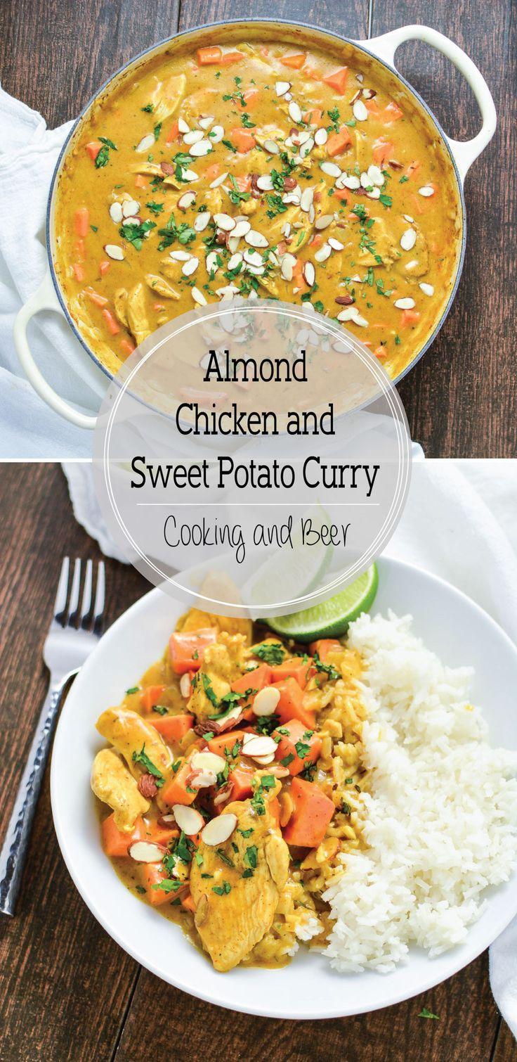 Almond Chicken and Sweet Potato Curry || RIGTIG GOD. mandelmælk kan erstattes af ren kokosmælk. Tilføj evt 1 tsk mandelsmør. Koriander (eller paste) på toppen fungerer godt