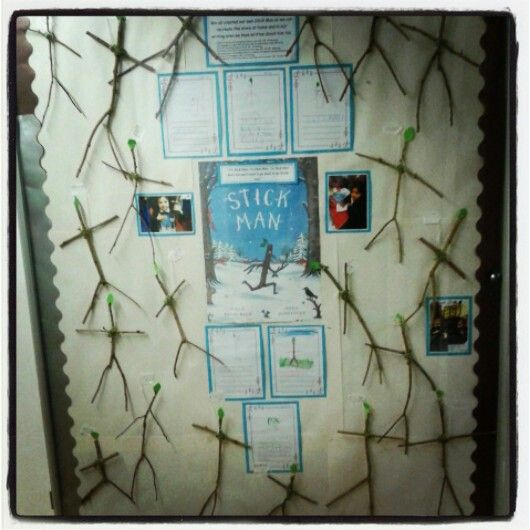 #Stick man display Joined twigs from the garden, the children added their stick man details onto their sticks!