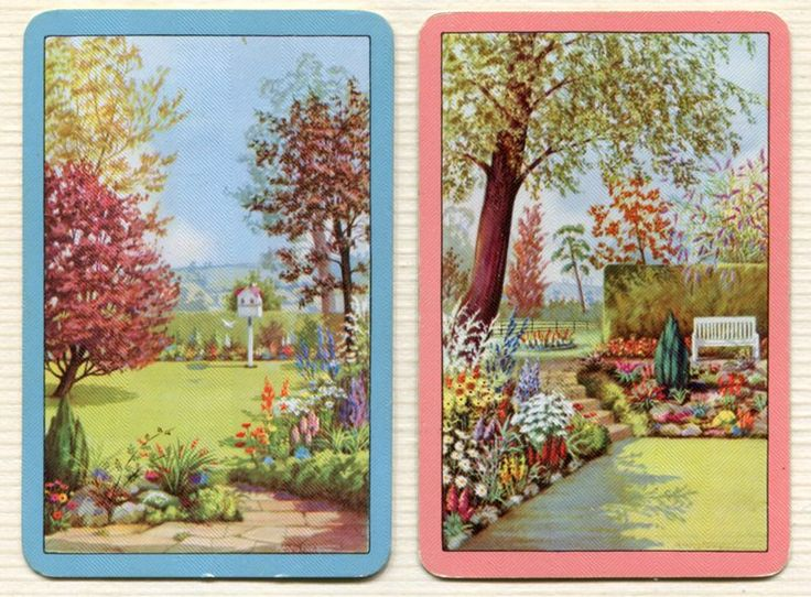 Swap Cards_garden scenes 1_linen_ blue, pink borders