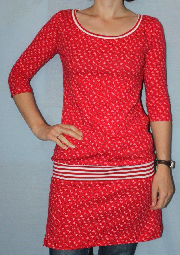 """Joana.Longshirt/ Tunika/ Kleid """"Rot-Anker"""" Jersey Gr. 38"""