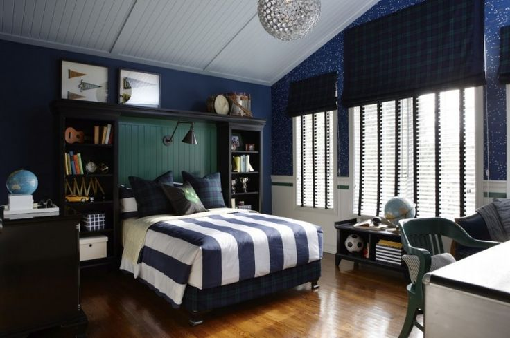 exciting teenage boy bedroom paint ideas | Cool, dark blue teenage boy's bedroom. Get the look with ...