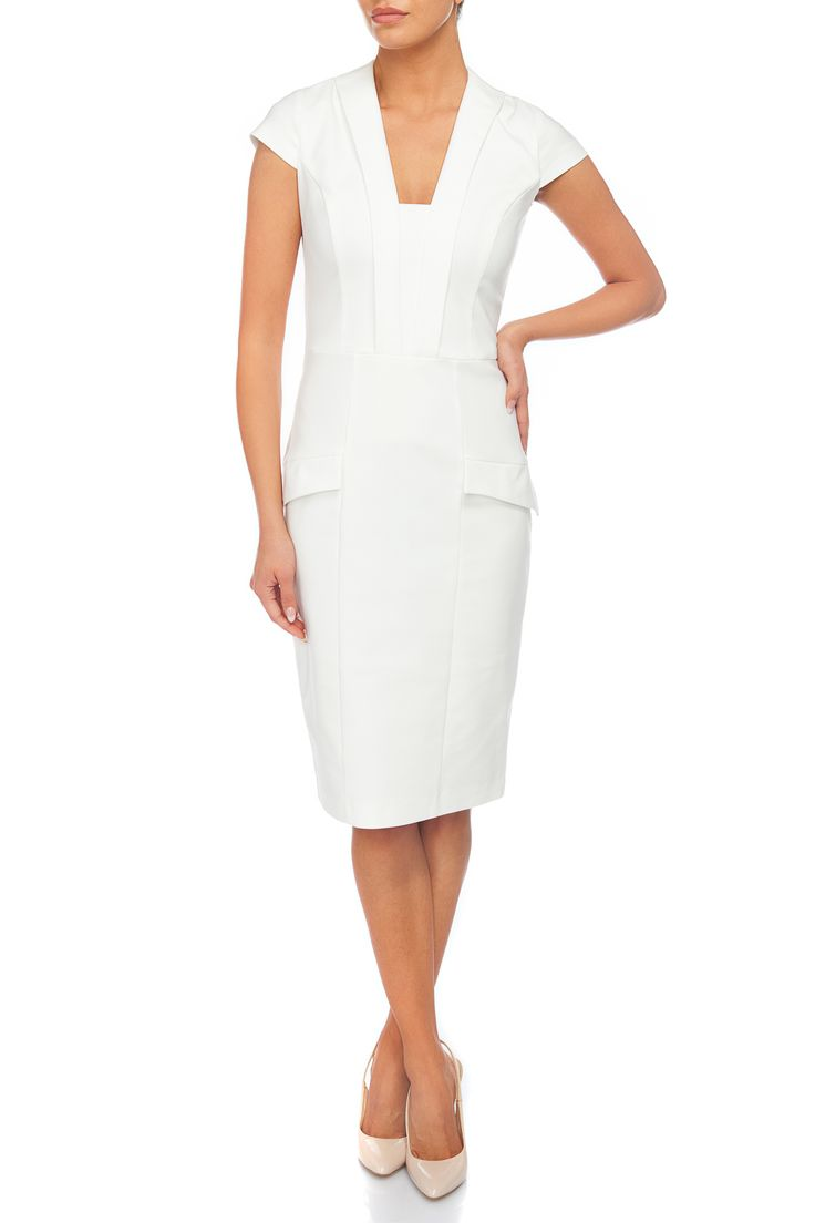 Fitted white midi dress