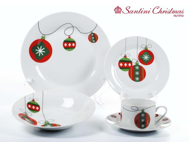 Vajilla con motivo de bolas navide as christmas balls for Vajillas para navidad