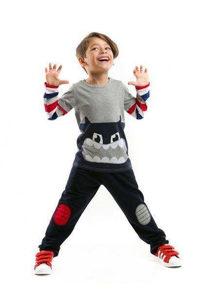 Gri Lacivert Erkek Çocuk Koca Ağız Canavar Takım