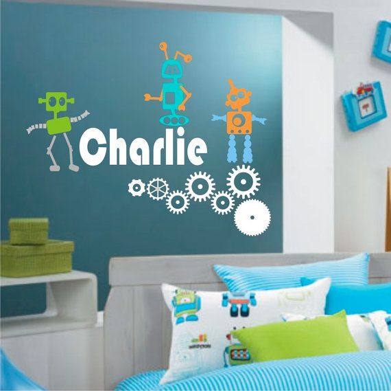 ROBOTS  for the DaBOY's room! vinyl robots gears and personalized text or by loladecor, $40.00  black name and gears...