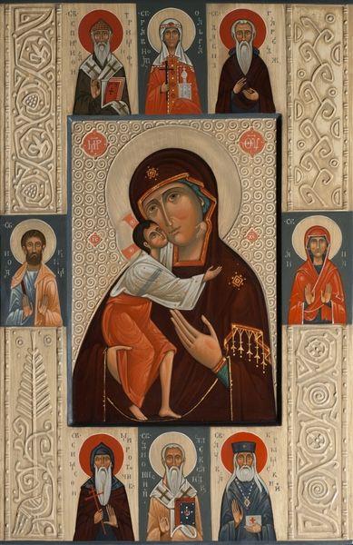 The Mother Of God Feodorovskaya with selected saints: st. Spiridon, st. Olga, st. David of Garedja, st. Joakim, st. Anna, st. Symon the Myrrh-Giver, st. Luke Vojno-Yasenetsky. 2014