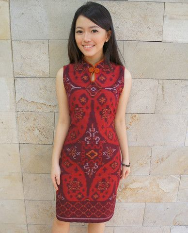 Shanghai Tea Dress Bright Red Tenun | batik kultur More