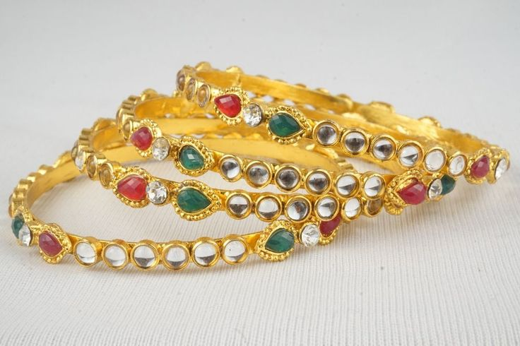 Traditional Jewelry Indian Bollywood Gold Plated Bridal Kundan 4PC Bangles Set #Handmade #Bangle