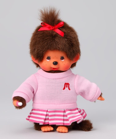 Take a look at this Pink Stripe Girl Monchhichi by Monchhichi on #zulily today!