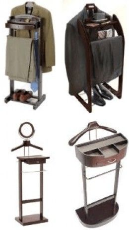 A men's suit valet stand is an essential piece of furniture for the executive gentleman's bedroom or dressing room. It provides a unimaginably useful location for a man to hang his entire suit after work or to hang out his work clothes neatly ready...