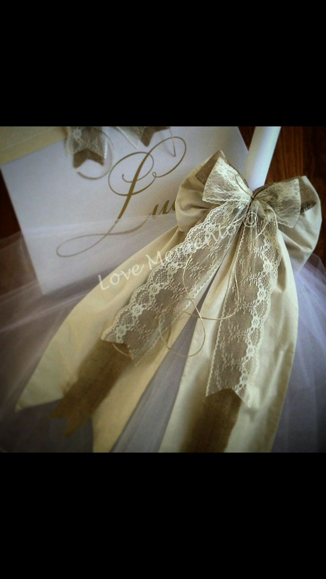 Gold lace tulle wedding Candles