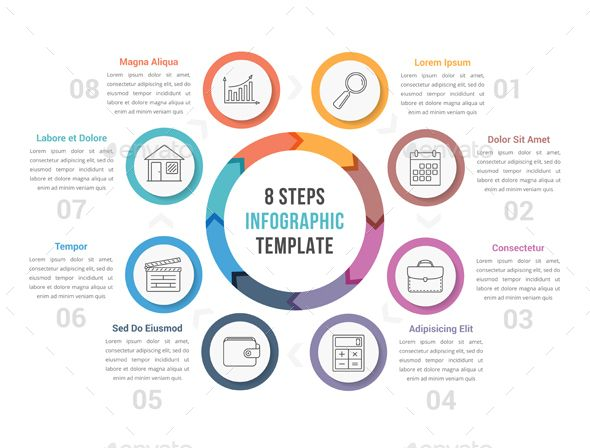 Circle Infographics with Eight Steps - #Infographics Download here: https://graphicriver.net/item/circle-infographics-with-eight-steps/19729218?ref=alena994