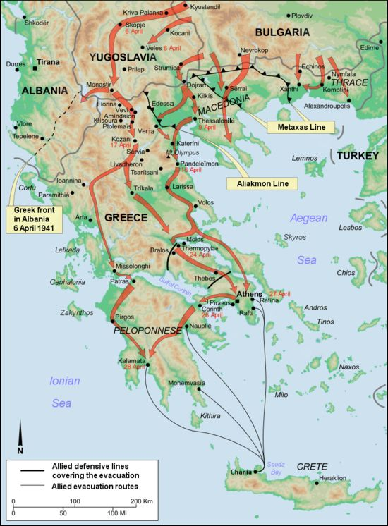 The Battle of Greece (also known as Operation Marita, German: Unternehmen Marita)[9] is the common name for the invasion of Greece by Germany and Italy in April 1941. It followed a previous, unsuccessful Italian invasion known as the Greco-Italian War. It is usually distinguished from the Battle of Crete, which came after mainland Greece had been subdued. These operations were part of the greater Balkan Campaign of Germany in World War II. | Wikipedia (Battle of Greece - 1941.png)