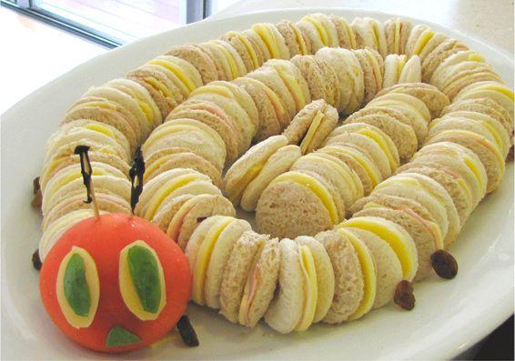 Sandwich oruga, una merienda divertida para fiestas infantiles | Recetas para bebés y niños. Alimentación durante el embarazo y la infancia