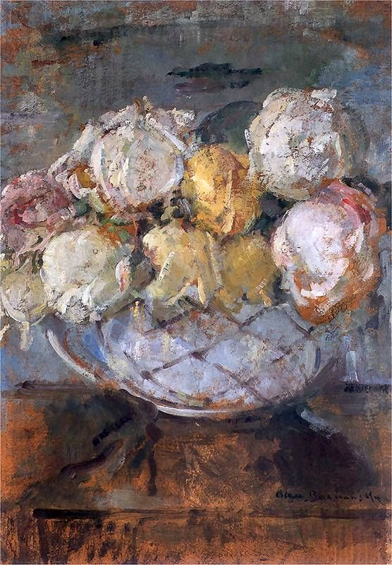 Roses (date?) by Olga Boznańska | Impressionism | Oil on cardboard | 47 × 34 cm (18.5 × 13.4 in) | Private collection