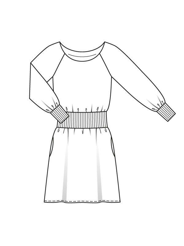 Dress with raglan sleeves - Pattern number 116 A Journal 8/2015 Burda - patterns on dresses Burdastyle.ru