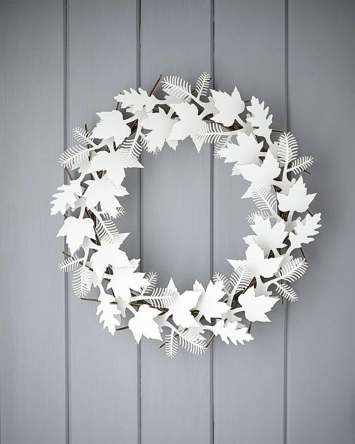 cardboard leaf wreath by the original pop up shop   notonthehighstreet.com