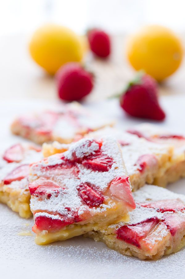 Strawberry Lemon Bars.  Wow, I want to bring this to the next potluck that I get signed up for dessert!