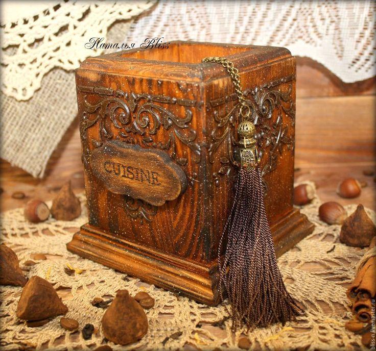 """Купить Подставка для приборов """"Сuisine"""" - коричневый, кухня, кухонная утварь, кухонные принадлежности, кухонный декор"""