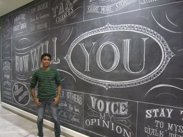 "Rajiv has done chalk walls for advertising agencies, birthday invitations for interior designers and logos for restaurants. | The Guy Who Played Kevin G. In ""Mean Girls"" Is Now A Calligrapher"