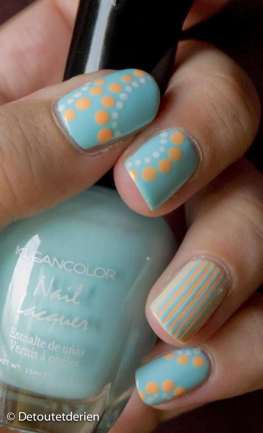 Polka dots and stripes nail art. I'd never have the ability to do all my nails like this, but even just one would be adorable!