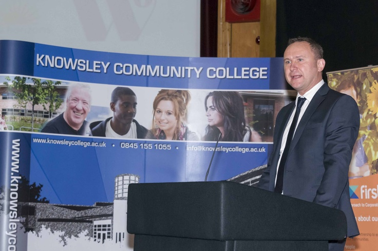 Motivational Speaker, Steve Logan, Principal at Knowsley College speaks to the crowd.   To find out more about jobs and training opportunities, click here!