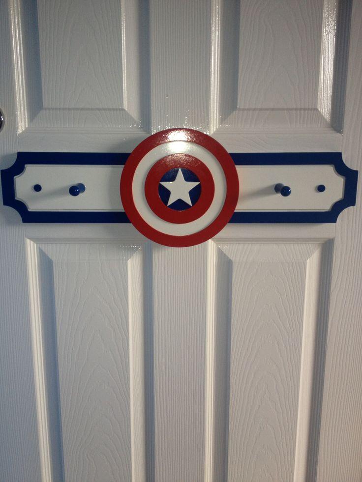 Homemade captain america coat hooks for boys bedroom
