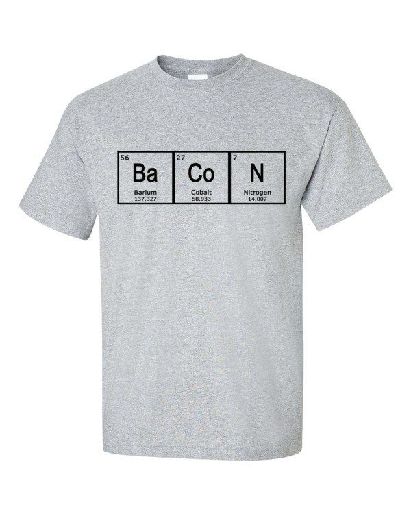 Periodic Table BACON T-Shirt, Men's shirt by Spirit West Designs
