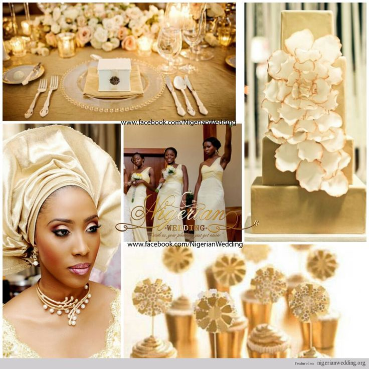 nigerian wedding all gold wedding color scheme