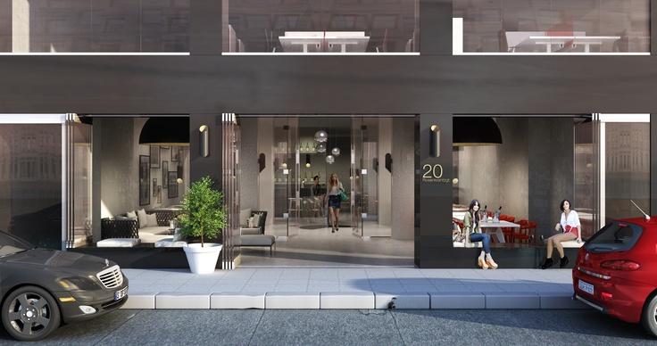 #interiør illustrert av #Scenario interiørarkitekter MNIL - #3D av fasade i #Oslo