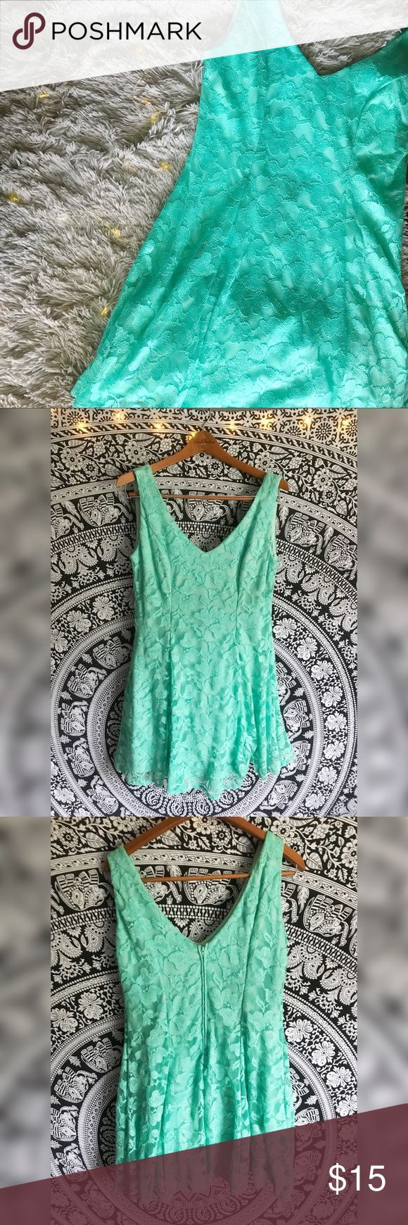 B. Smart Mint Green Princess Seam Dress With Lace. B. Smart Blue Princess Seam Dress With Lace. Glittery, floral lace overlay with fully lined inside. Princess seam with v-neck. 95% polyester 5% spandex. Feel free to ask questions or ask for more pictures! B. Smart Dresses Mini