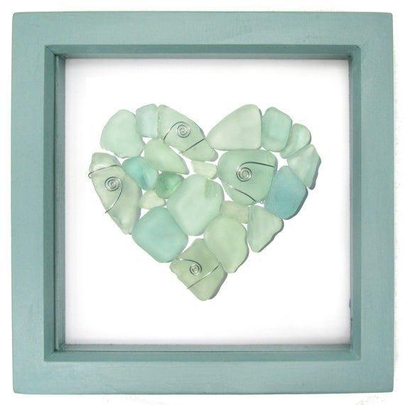 Craft Set 4 Guardian Angel Glass Heart Silver Green