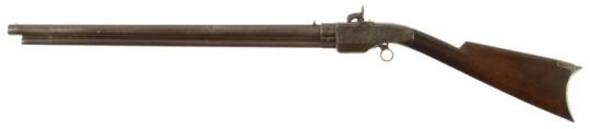 Smith-Jennings 2nd Model 1851 repeating rifle    Manufactured by Robins and Lawrence of Windsor, Vermont, USA c.1850′s, serial number 6S - out of a production run of about 400.  .54 rocket ball and - I think - priming tape, >12 shots in a tubular magazine located under the barrel.