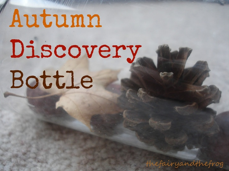 Autumn discovery bottle, autumn/fall sensory play for babies and preschoolers