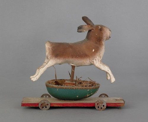 Composition rabbit pull toy, early 20th c., mount, $275