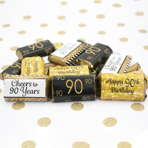 90th Birthday Party Decorations - Gold & Black - Stickers for Hershey's Miniature Bars (Set of 54)