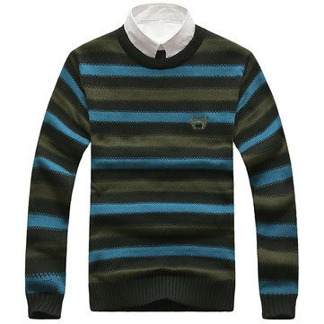 Mens Autumn Winter O-neck Pullover Sweater Stripe Personality Slim Fit Knitwear at Banggood