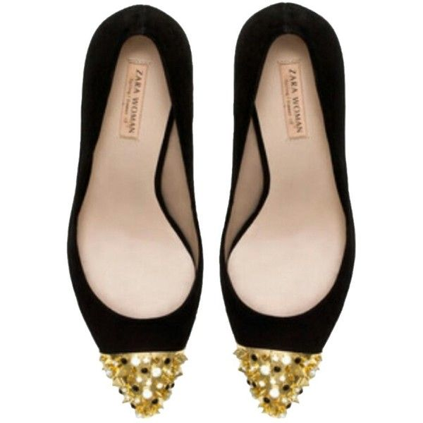 Pre-owned Zara Gold Capped Toe & Rhinestones Court Black Pumps ($120) ❤ liked on Polyvore featuring shoes, pumps, black, gold cap toe pumps, spiked pumps, spike shoes, black shoes and black rhinestone shoes
