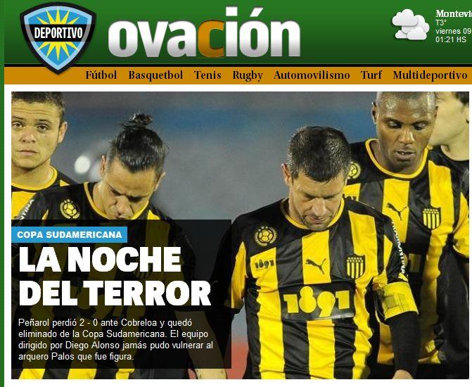 La noche del terror: Pesadilla en el Centenario. Ovación (Diario El País). http://www.ovaciondigital.com.uy/futbol/penarol-cobreloa-sudamericana-revancha-montevideo.html