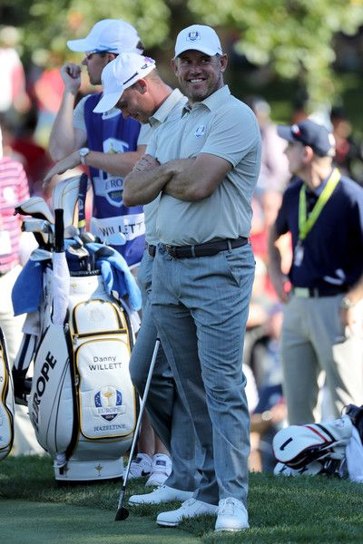 Lee Westwood of Europe looks on from the eighth green during afternoon fourball matches of the 2016 Ryder Cup at Hazeltine National Golf Club on October 1, 2016 in Chaska, Minnesota.