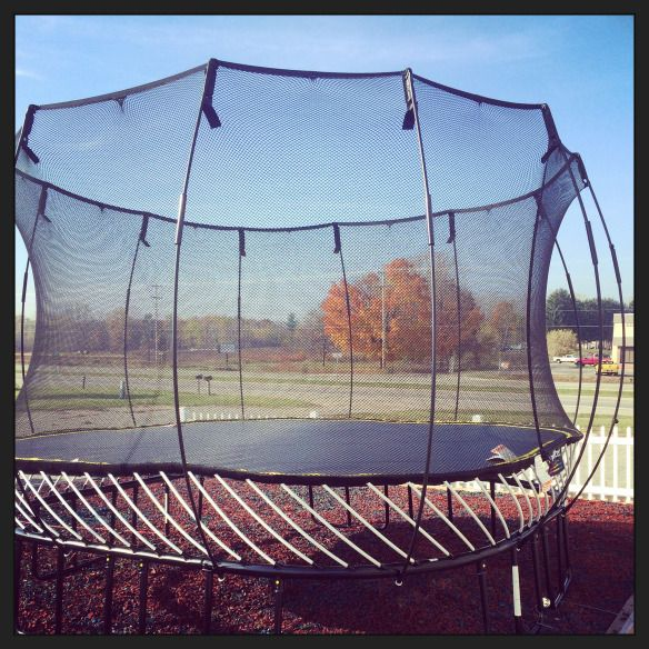 SpringFree Trampoline - World's Safest Trampoline! No Springs, One way in and Out, Flex net, Holds up to a 220lb jumper - 1100 load capacity. There's a variety of sizes to fit almost any size yard. #Trampoline #Product #Jump