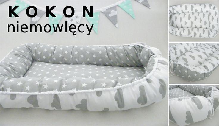 KOKON niemowlęcy, otulacz, leżaczek, mata z kolekcji chmurki gwiazdki, babynest --> www.betulli.pl