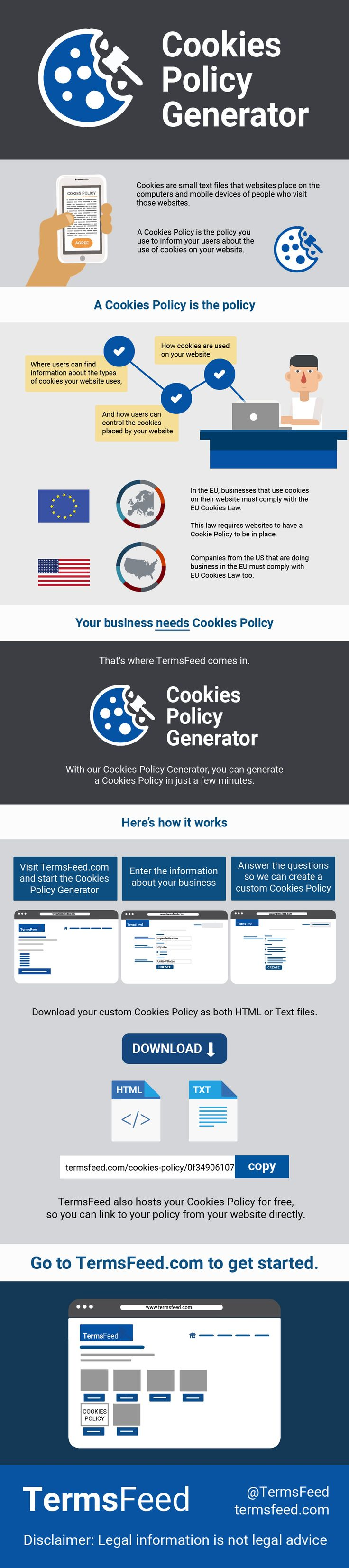 TermsFeed Cookies Policy Generator creates a custom and professional Cookies Policy for your website.