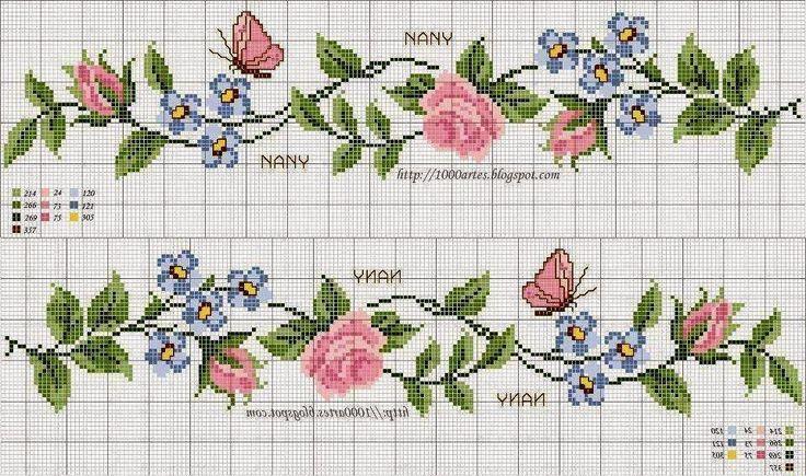 flores em ponto cruz - Buscar con Google                                                                                                                                                                                 Más