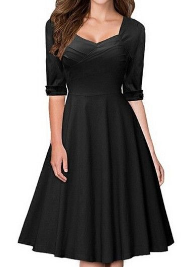 Half Sleeve Black High Waist Dress
