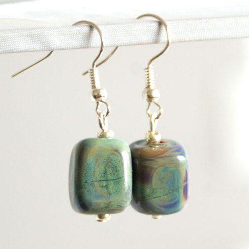 Lampwork Raku Cube Shaped Earrings by SamMadeWithLove on Etsy, $18.00
