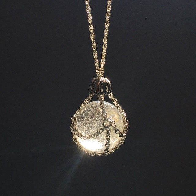 Chain-cloaked Quartz Crystal Ball necklace now available in my etsy shop. Link…                                                                                                                                                                                 More