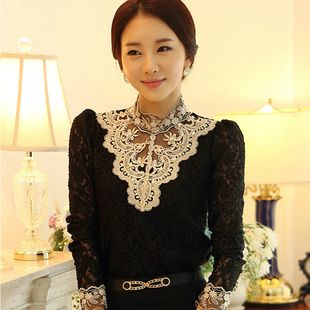 New 2014 spring women blouses& shirts women clothing fashion chiffon leisure slim lace OL loose blouse free shipping