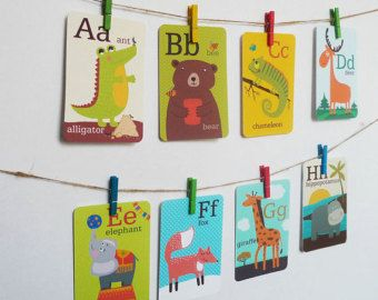 Animal Alphabet Card Set Nursery Wall Cards Animal Alphabet
